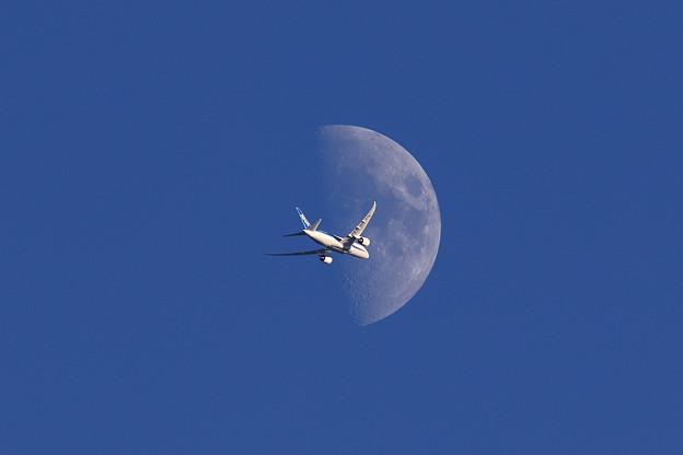 月とANA Boeing787