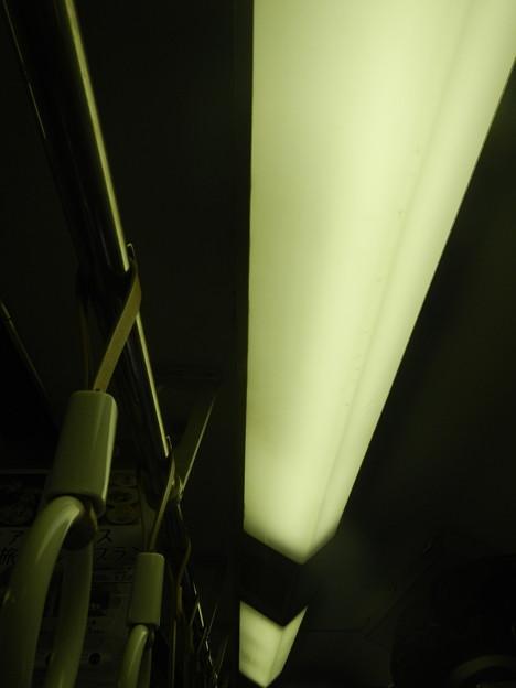 Kintetsu commuter train typical ceiling lights