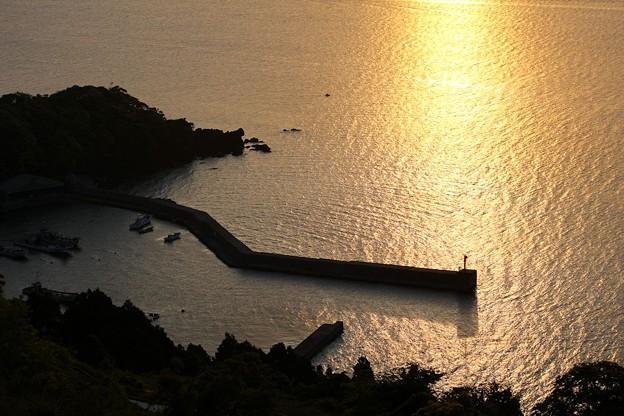 朝陽を浴びた新井崎漁港(2)