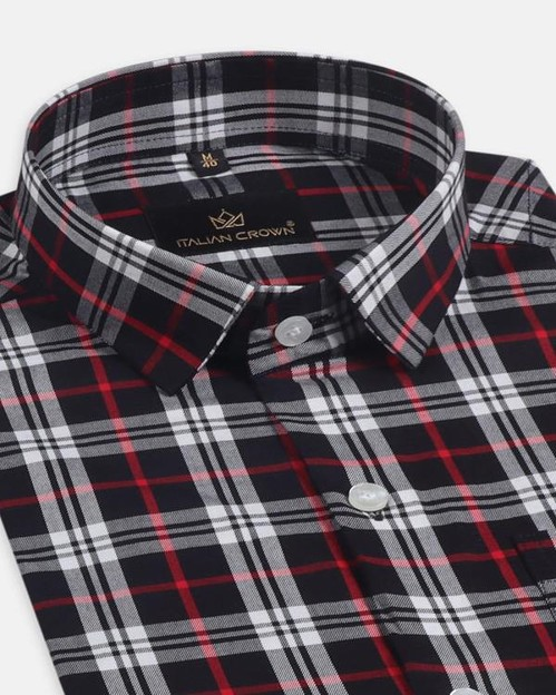 Black With Red Plaid Full Sleeve Formal Shirt