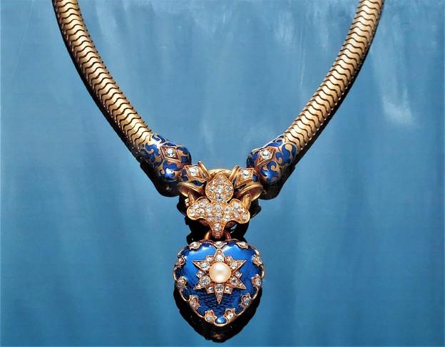 ブルーエナメル&ゴールドネックレス@1865~70年頃イギリス旧ジャン・シェルダンコレクション