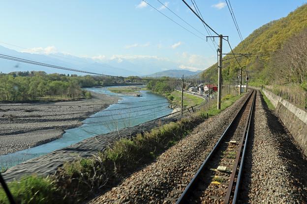 篠ノ井線後方視界(犀川沿い)