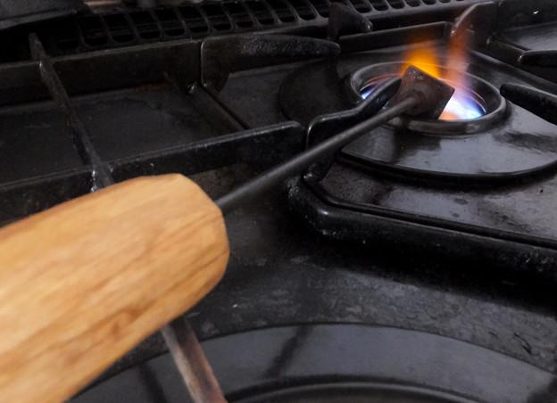 コンロで焼く