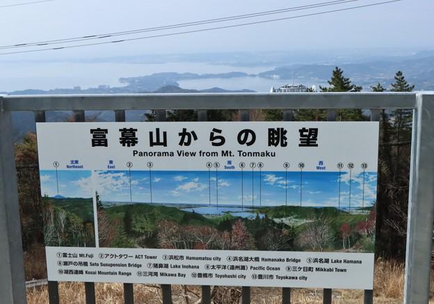 富幕山山頂休憩舎展望デッキに絵看板が付いて居た。
