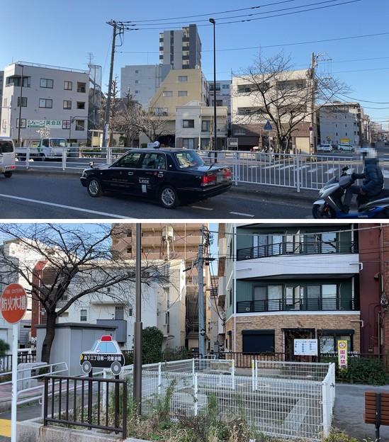 五間堀跡(上・北 墨田区、下・南 江東区)