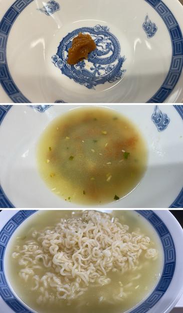 サッポロ一番塩ラーメン2 + 香川アローカナ味玉 + 明日香きくらげ + 南高梅川根本町ゆずパウダー
