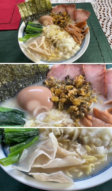 スガキヤラーメン + 香川アローカナ味玉 + 明日香きくらげ + 福岡高菜漬