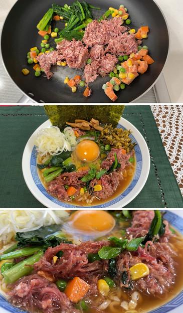 東京 腰塚コンビーフ3――明日香きくらげ ・サッポロ一番しょうゆラーメン