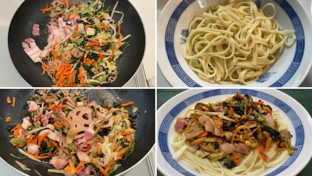 肉野菜炒め沖縄そば――琉球美人4 + 岩手 白金豚ベーコン + 九州ドライベジ