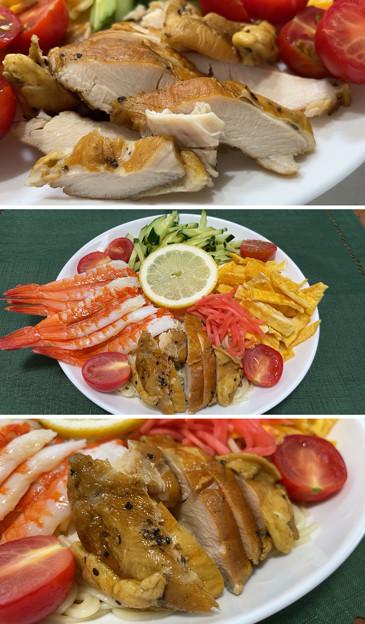 佐賀 山ん鶏スモークチキン1――九州 冷やし中華 レモンスープ