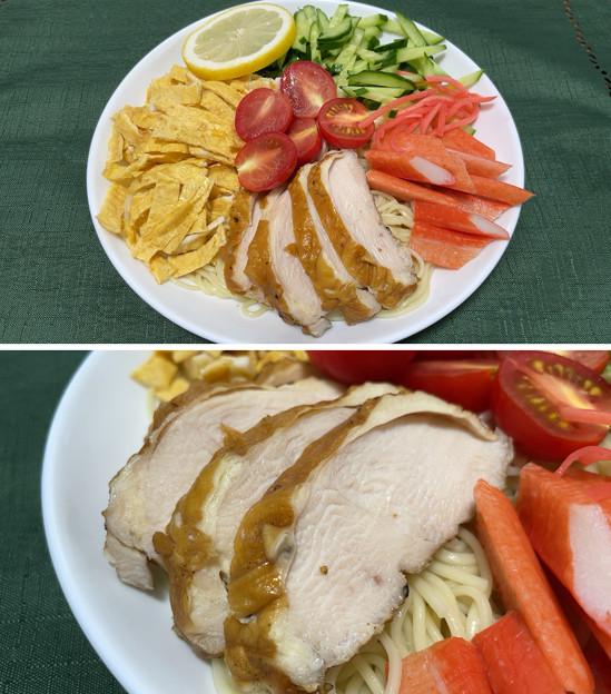 佐賀 山ん鶏スモークチキン2――九州 冷やし中華 レモンスープ