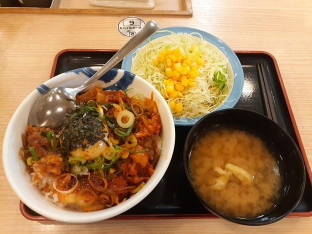 松屋  ビビン丼 大盛り 生野菜