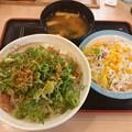 ねぎ塩豚焼肉丼 ライス大盛り 生野菜