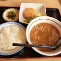 Photos: 山田うどん カレーそば コロッケ付き ライス中
