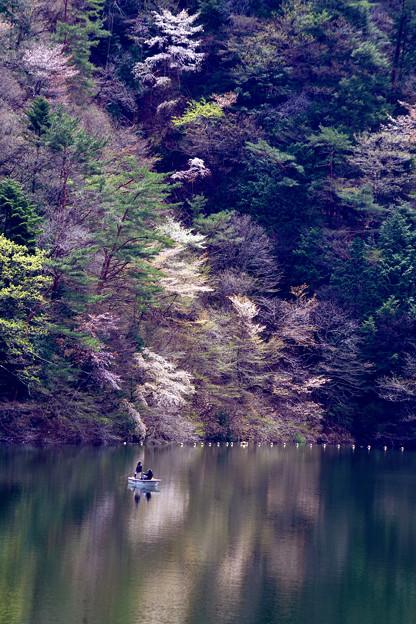 鏡面上の釣り人