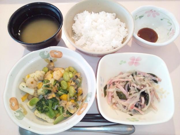 2月26日朝食(シーフードと野菜の塩炒め) #病院食