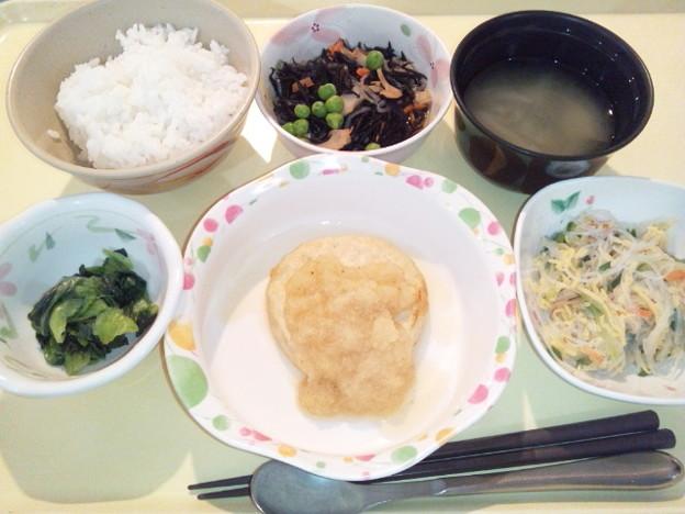 2月26日夕食(和風おろしハンバーグ) #病院食