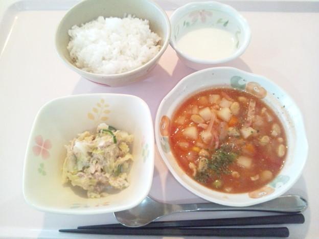 3月2日朝食(ミネストローネ) #病院食
