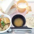 Photos: 3月6日朝食(三色いなりの煮物) #病院食