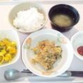 3月7日朝食(鮭フレークとほうれん草のソテー) #病院食