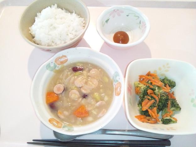 3月21日朝食(ウインナーとさつま芋のコンソメ煮) #病院食
