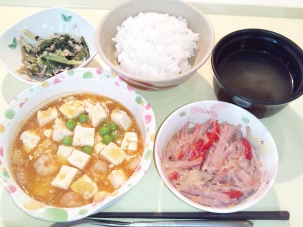 3月21日夕食(海老と豆腐のチリソース) #病院食