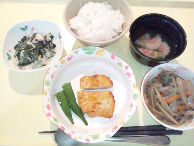 3月22日夕食(鶏肉の味噌焼き) #病院食