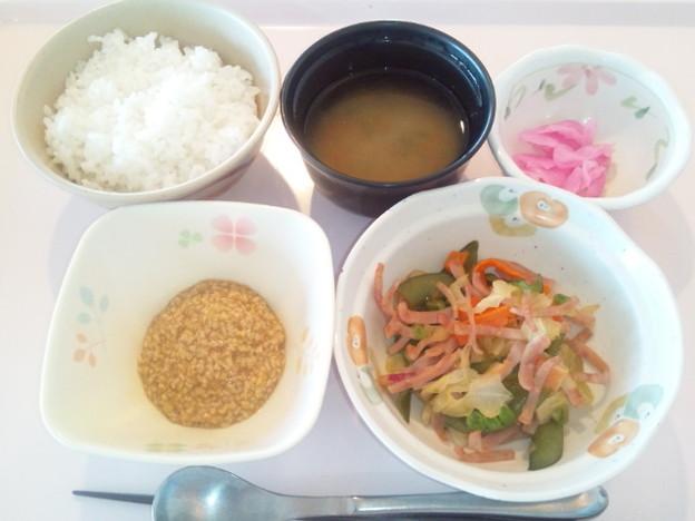 3月23日朝食(ハムと野菜のソテー) #病院食