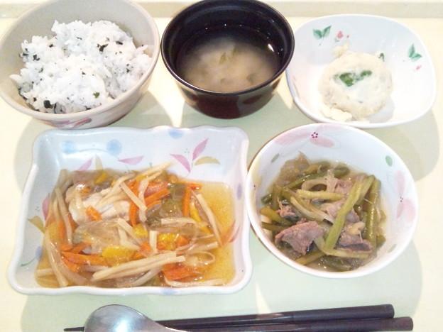 3月28日夕食(鯵の野菜あんかけ・わかめ御飯) #病院食