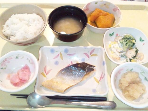 3月29日夕食(鮭の塩焼き) #病院食