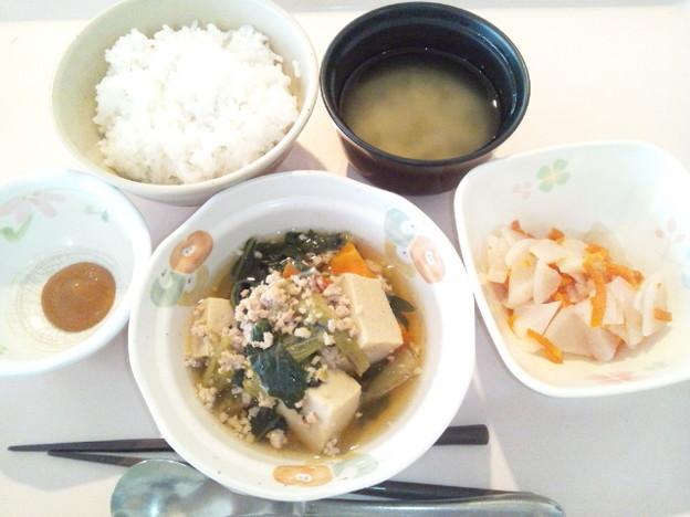 3月30日朝食(高野豆腐と青梗菜のそぼろ煮) #病院食