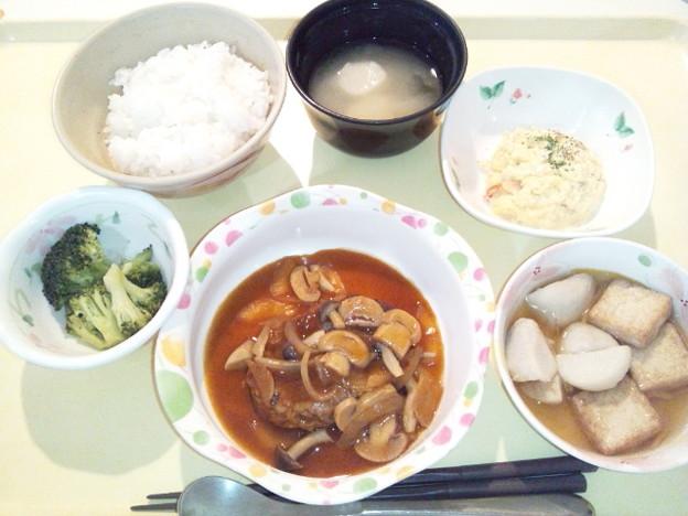 3月30日夕食(ハンバーグ) #病院食