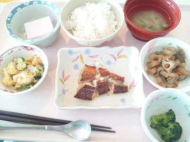 3月31日昼食(めばるの山椒焼き) #病院食