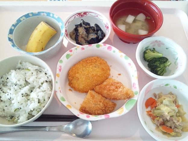 4月1日昼食(エビカツ&コロッケ・菜飯) #病院食