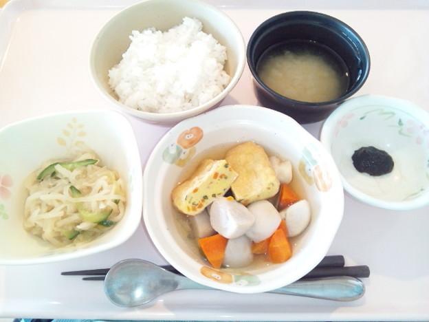 4月4日朝食(三色いなりの煮物) #病院食
