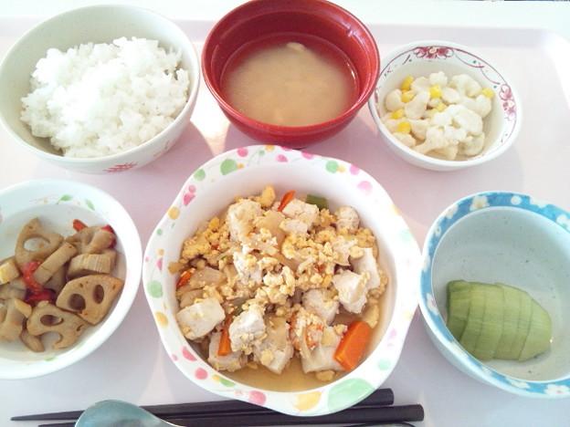 4月4日昼食(豆腐の柚子胡椒炒め) #病院食