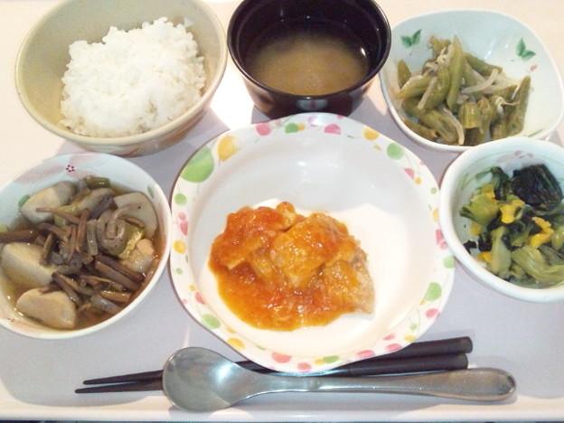 4月6日夕食(鶏肉のチリソースがけ) #病院食