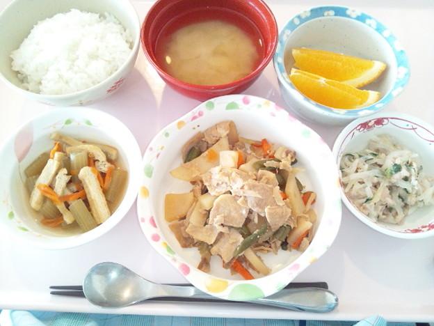4月8日昼食(豚肉と野菜の炒め物) #病院食