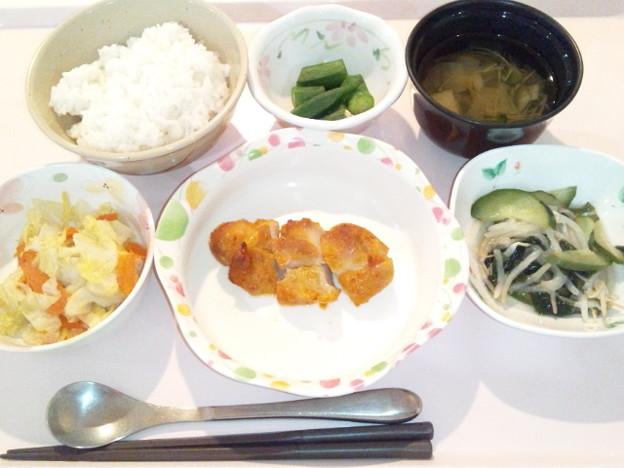 4月9日夕食(鶏の味噌焼き) #病院食