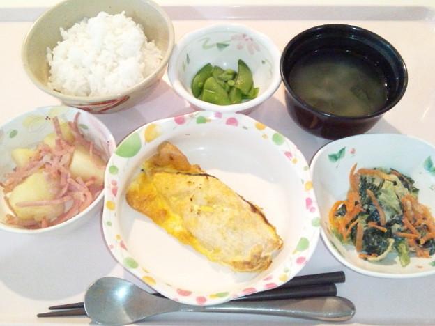 4月12日夕食(鮭のピカタ) #病院食