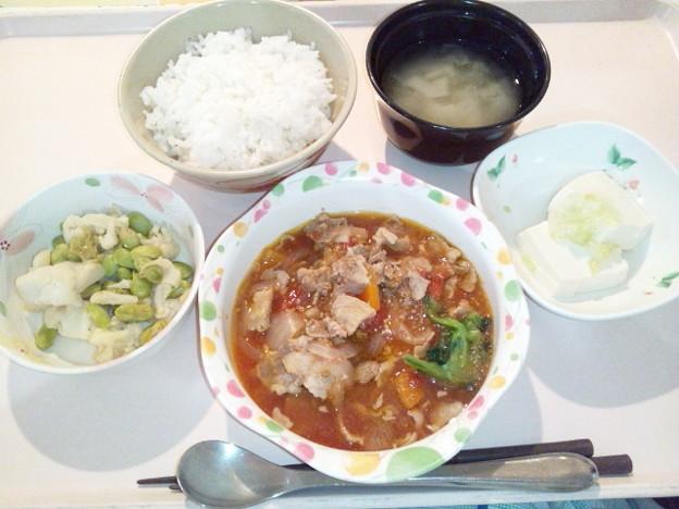 4月13日夕食(豚肉のトマト煮) #病院食