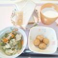 4月14日朝食(あさりと野菜のバターコンソメ煮) #病院食