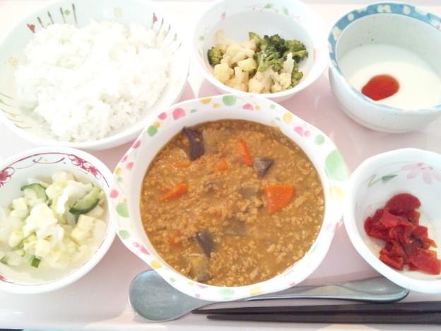 4月16日昼食(茄子とひき肉のカレーライス) #病院食