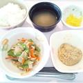 4月18日朝食(ベーコンと野菜の炒め物) #病院食