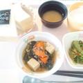 4月19日朝食(高野豆腐と菜の花のそぼろ煮) #病院食