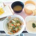 4月22日朝食(さつま揚げの炒め物) #病院食