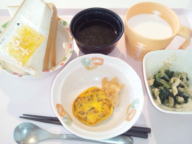 5月6日朝食(きのこ玉子焼き) #病院食