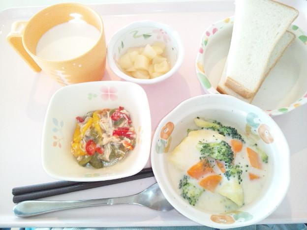 6月24日朝食(ロールキャベツのクリーム煮) #病院食