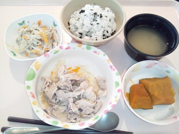 7月31日夕食(冷やし豚しゃぶ・わかめ御飯) #病院食