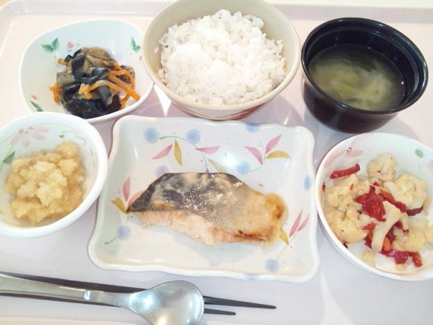 8月1日夕食(鮭の西京焼き) #病院食